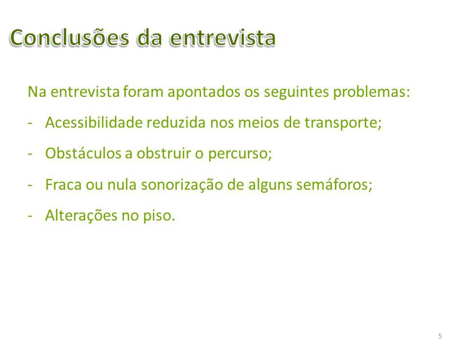 Na entrevista foram apontados os seguintes problemas: -Acessibilidade reduzida nos meios de transporte; -Obstáculos a obstruir o percurso; -Fraca ou n