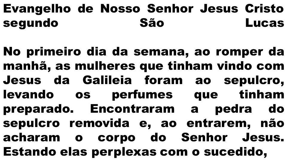 Evangelho de Nosso Senhor Jesus Cristo segundo São Lucas No primeiro dia da semana, ao romper da manhã, as mulheres que tinham vindo com Jesus da Gali