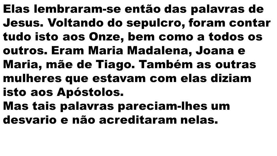 Elas lembraram-se então das palavras de Jesus. Voltando do sepulcro, foram contar tudo isto aos Onze, bem como a todos os outros. Eram Maria Madalena,