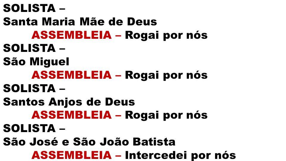 SOLISTA – Santa Maria Mãe de Deus ASSEMBLEIA – Rogai por nós SOLISTA – São Miguel ASSEMBLEIA – Rogai por nós SOLISTA – Santos Anjos de Deus ASSEMBLEIA