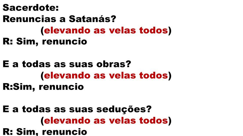 Sacerdote: Renuncias a Satanás? (elevando as velas todos) R: Sim, renuncio E a todas as suas obras? (elevando as velas todos) R:Sim, renuncio E a toda