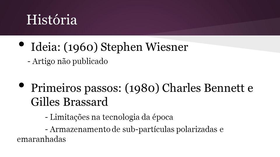 Ideia: (1960) Stephen Wiesner - Artigo não publicado Primeiros passos: (1980) Charles Bennett e Gilles Brassard - Limitações na tecnologia da época - Armazenamento de sub-partículas polarizadas e emaranhadas História