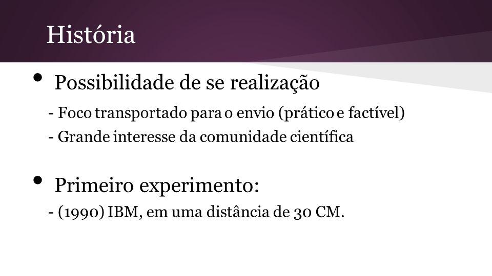 Possibilidade de se realização - Foco transportado para o envio (prático e factível) - Grande interesse da comunidade científica Primeiro experimento: - (1990) IBM, em uma distância de 30 CM.