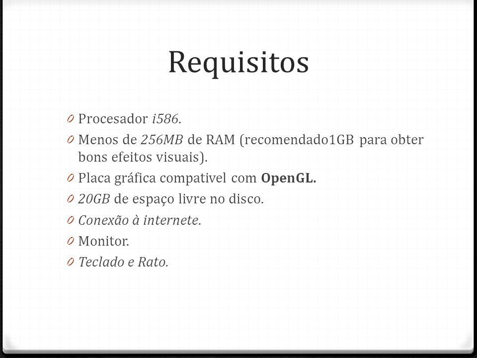 Requisitos 0 Procesador i586. 0 Menos de 256MB de RAM (recomendado1GB para obter bons efeitos visuais). 0 Placa gráfica compativel com OpenGL. 0 20GB