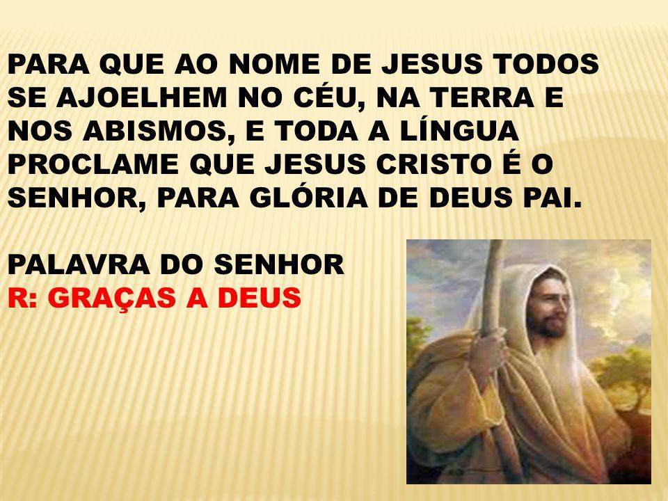 PARA QUE AO NOME DE JESUS TODOS SE AJOELHEM NO CÉU, NA TERRA E NOS ABISMOS, E TODA A LÍNGUA PROCLAME QUE JESUS CRISTO É O SENHOR, PARA GLÓRIA DE DEUS PAI.