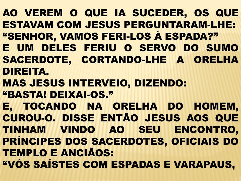 AO VEREM O QUE IA SUCEDER, OS QUE ESTAVAM COM JESUS PERGUNTARAM-LHE: SENHOR, VAMOS FERI-LOS À ESPADA.