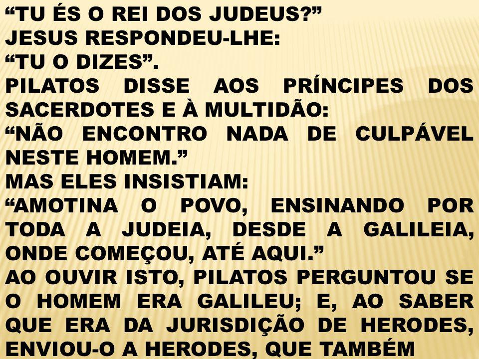 TU ÉS O REI DOS JUDEUS.JESUS RESPONDEU-LHE: TU O DIZES.