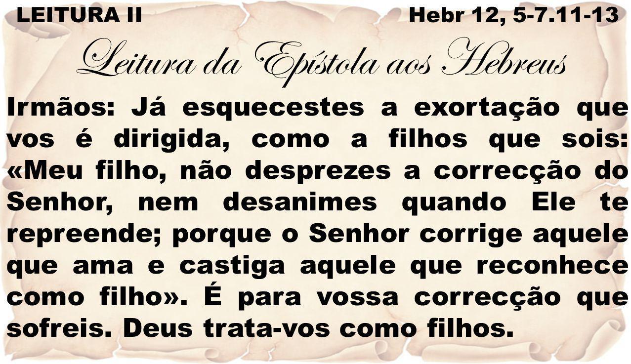 LEITURA II Hebr 12, 5-7.11-13 Leitura da Epístola aos Hebreus Irmãos: Já esquecestes a exortação que vos é dirigida, como a filhos que sois: «Meu filh