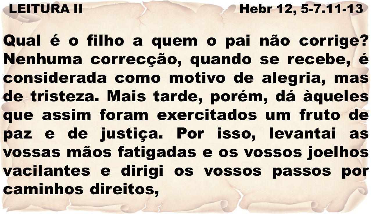 LEITURA II Hebr 12, 5-7.11-13 Qual é o filho a quem o pai não corrige? Nenhuma correcção, quando se recebe, é considerada como motivo de alegria, mas