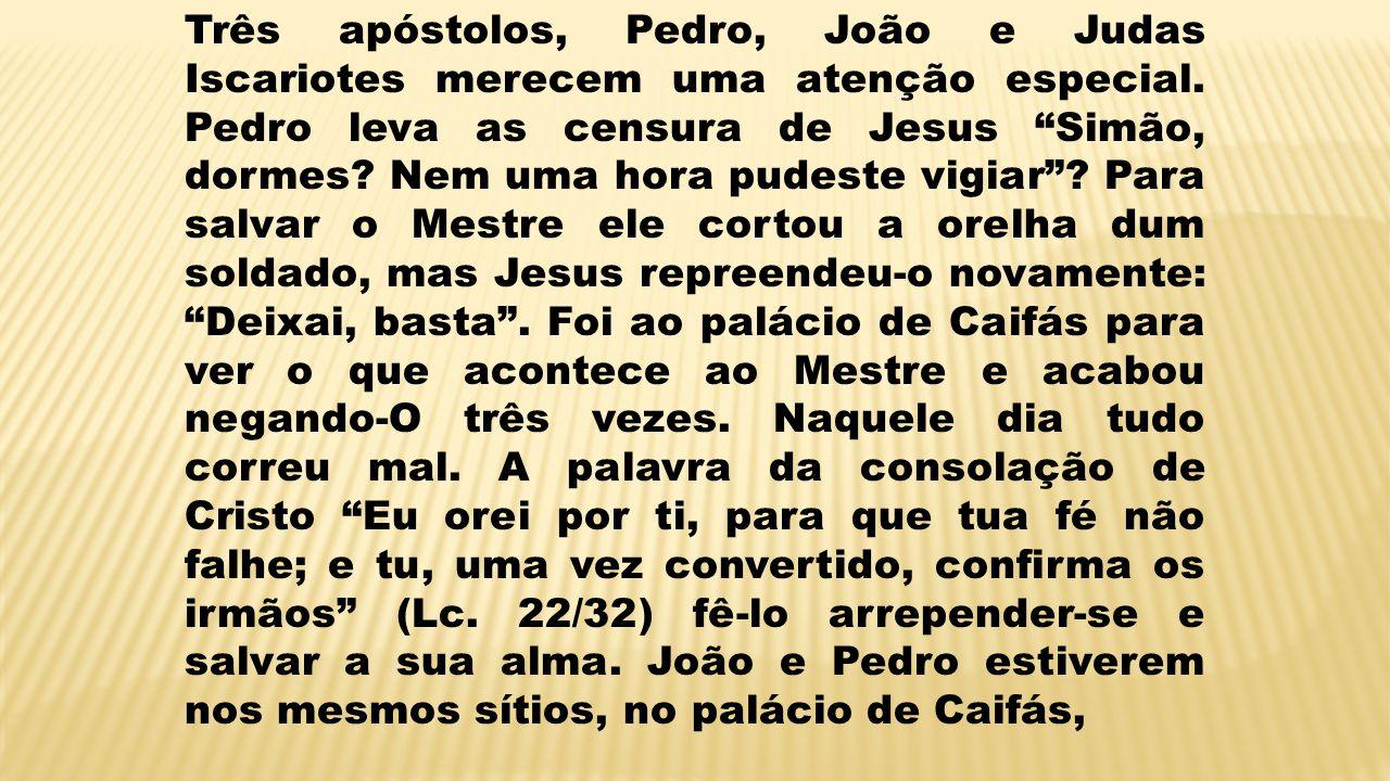 Três apóstolos, Pedro, João e Judas Iscariotes merecem uma atenção especial. Pedro leva as censura de Jesus Simão, dormes? Nem uma hora pudeste vigiar