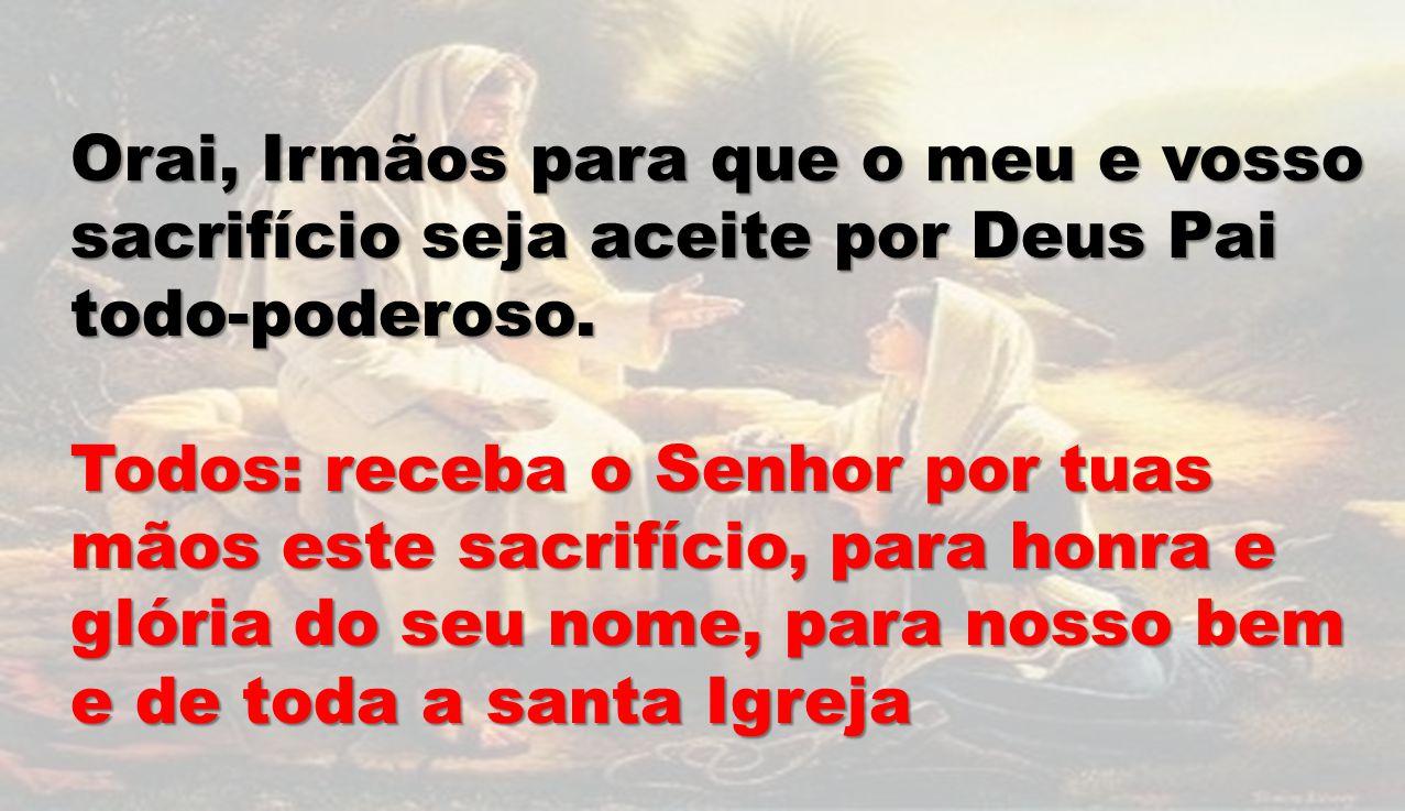 Orai, Irmãos para que o meu e vosso sacrifício seja aceite por Deus Pai todo-poderoso. Todos: receba o Senhor por tuas mãos este sacrifício, para honr