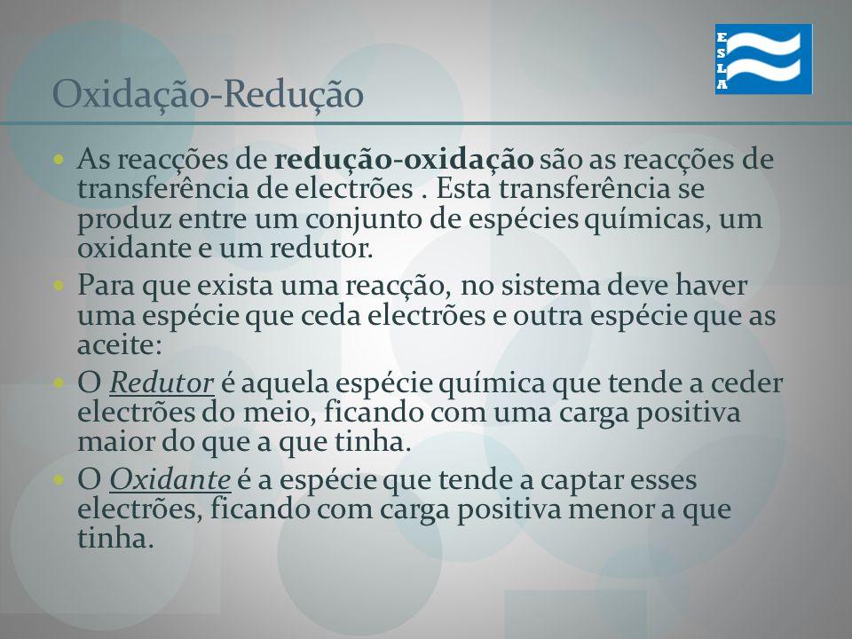 Oxidação-Redução As reacções de redução-oxidação são as reacções de transferência de electrões. Esta transferência se produz entre um conjunto de espé