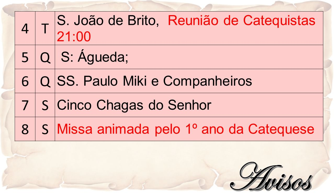 4T S.João de Brito, Reunião de Catequistas 21:00 5Q S: Águeda; 6Q SS.