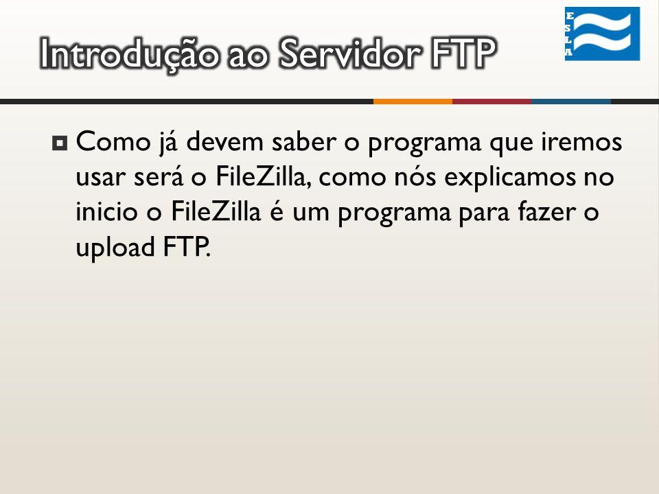 ESLA ESLA Como já devem saber o programa que iremos usar será o FileZilla, como nós explicamos no inicio o FileZilla é um programa para fazer o upload FTP.