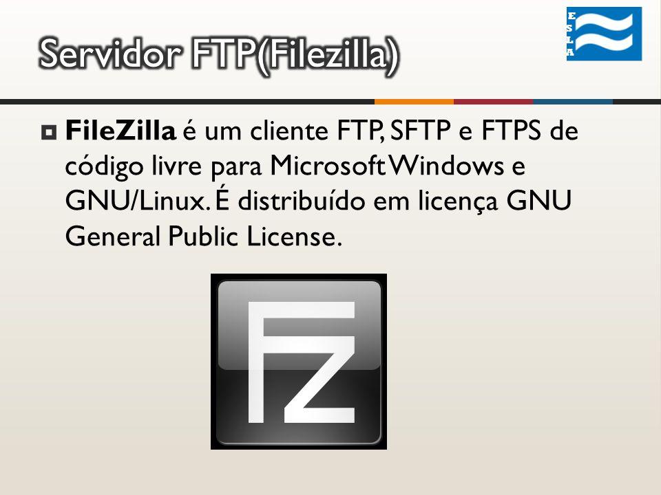 FileZilla é um cliente FTP, SFTP e FTPS de código livre para Microsoft Windows e GNU/Linux.