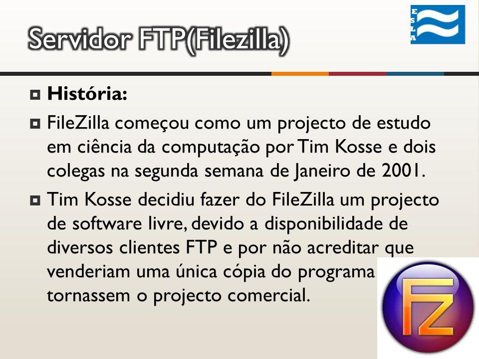 História: FileZilla começou como um projecto de estudo em ciência da computação por Tim Kosse e dois colegas na segunda semana de Janeiro de 2001.