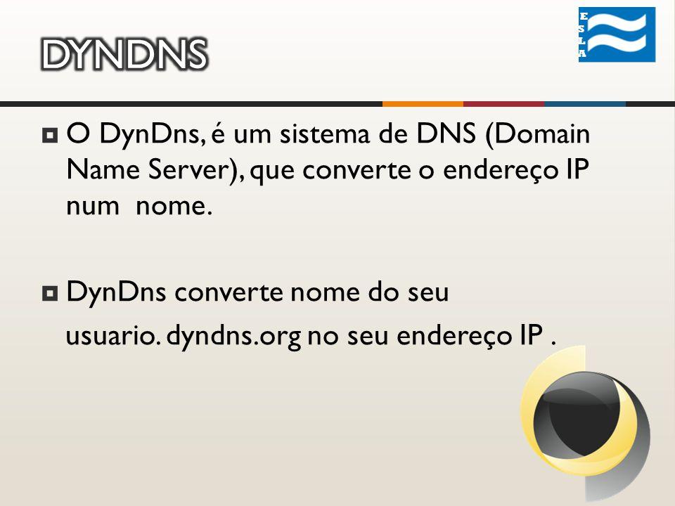 O DynDns, é um sistema de DNS (Domain Name Server), que converte o endereço IP num nome.