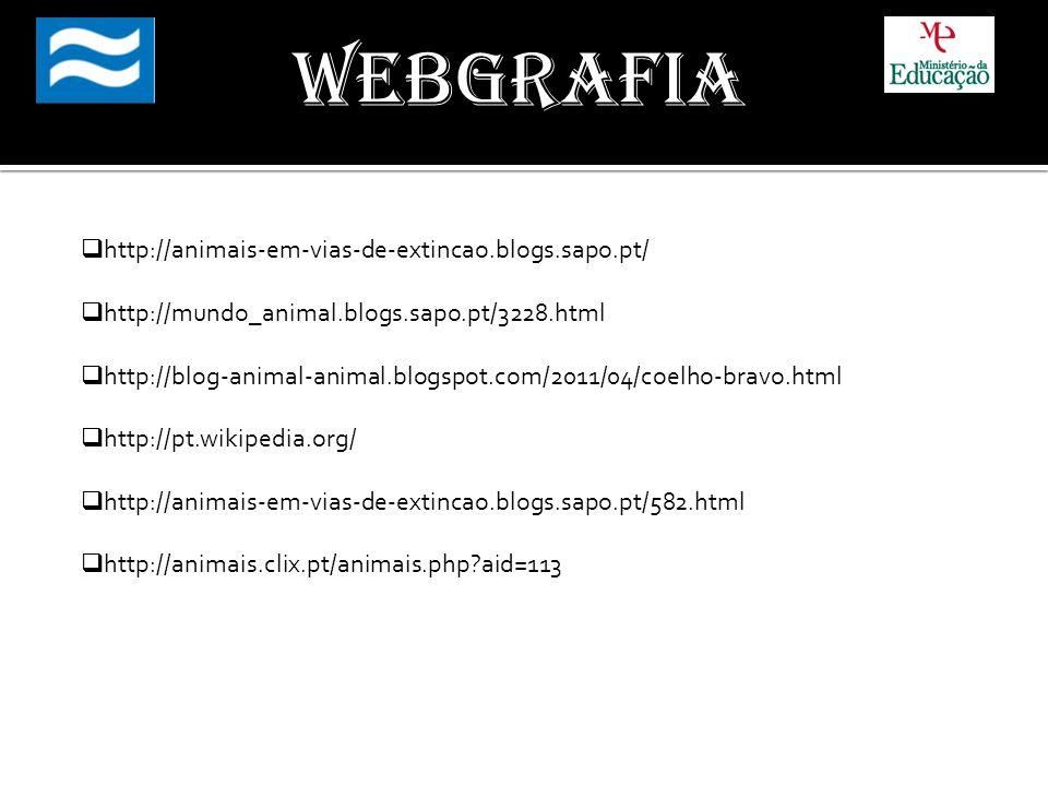 Webgrafia http://animais-em-vias-de-extincao.blogs.sapo.pt/ http://mundo_animal.blogs.sapo.pt/3228.html http://blog-animal-animal.blogspot.com/2011/04