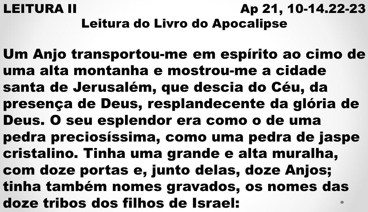 LEITURA II Ap 21, 10-14.22-23 Leitura do Livro do Apocalipse Um Anjo transportou-me em espírito ao cimo de uma alta montanha e mostrou-me a cidade santa de Jerusalém, que descia do Céu, da presença de Deus, resplandecente da glória de Deus.