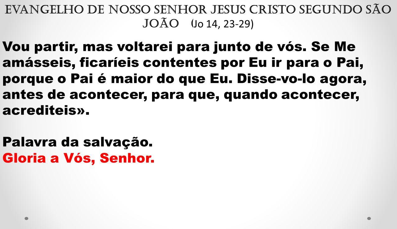 Evangelho de Nosso Senhor Jesus Cristo segundo São João ( Jo 14, 23-29) Vou partir, mas voltarei para junto de vós.