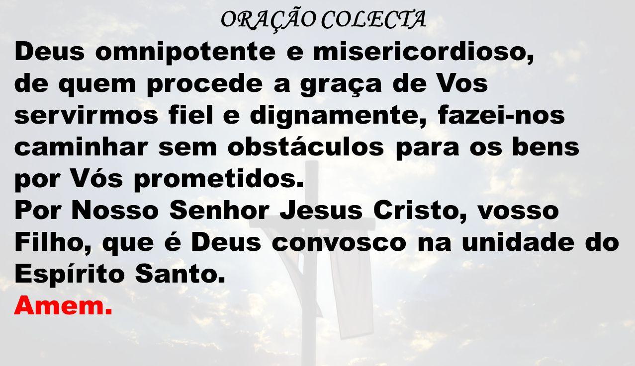 ORAÇÃO COLECTA Deus omnipotente e misericordioso, de quem procede a graça de Vos servirmos fiel e dignamente, fazei-nos caminhar sem obstáculos para os bens por Vós prometidos.