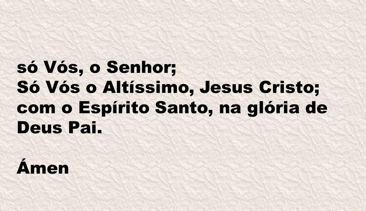 Só Vós o Altíssimo, Jesus Cristo; com o Espírito Santo, na glória de Deus Pai. Ámen