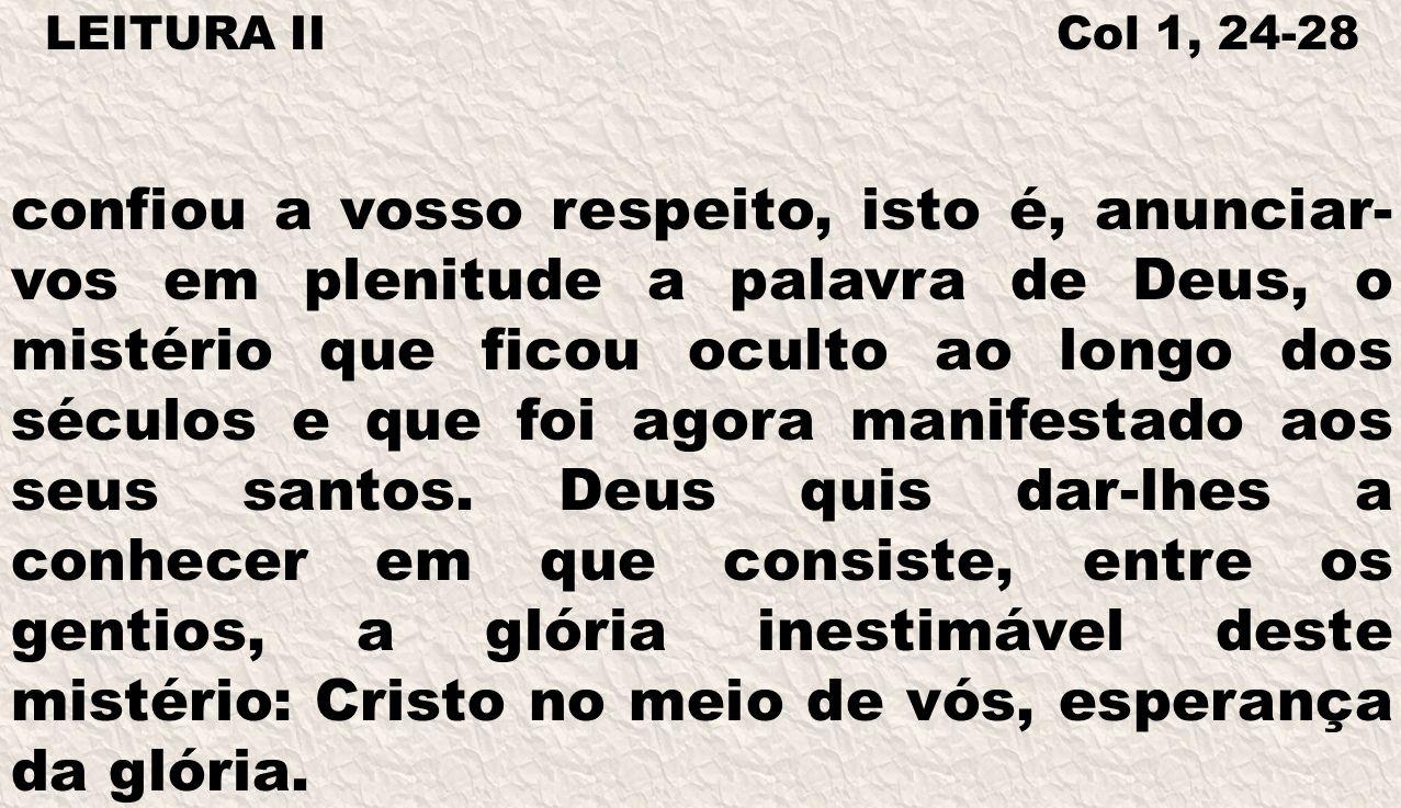 LEITURA II Col 1, 24-28 confiou a vosso respeito, isto é, anunciar- vos em plenitude a palavra de Deus, o mistério que ficou oculto ao longo dos sécul