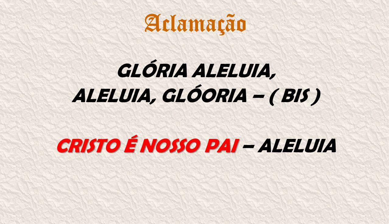 Aclamação GLÓRIA ALELUIA, ALELUIA, GLÓORIA – ( BIS ) CRISTO É NOSSO PAI CRISTO É NOSSO PAI – ALELUIA