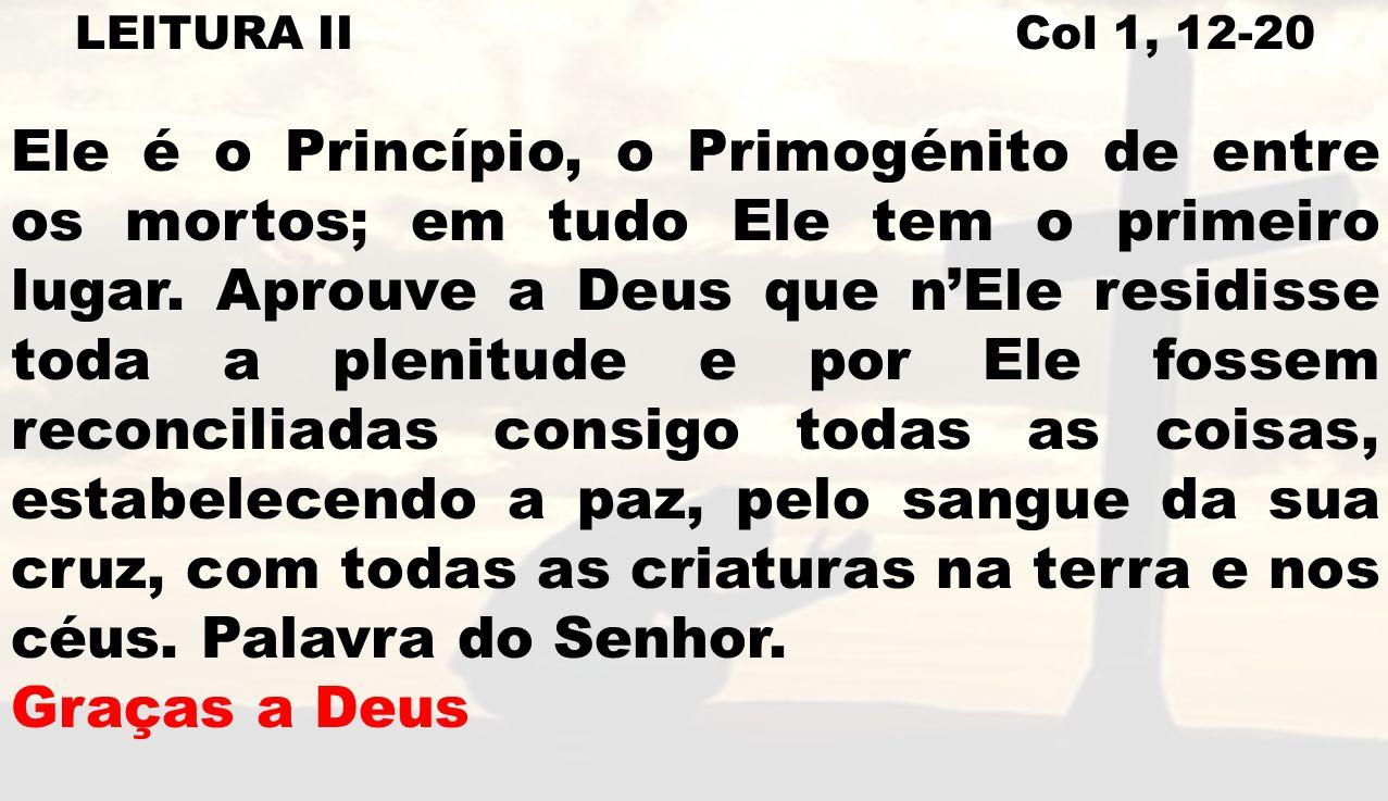 LEITURA II Col 1, 12-20 Ele é o Princípio, o Primogénito de entre os mortos; em tudo Ele tem o primeiro lugar. Aprouve a Deus que nEle residisse toda