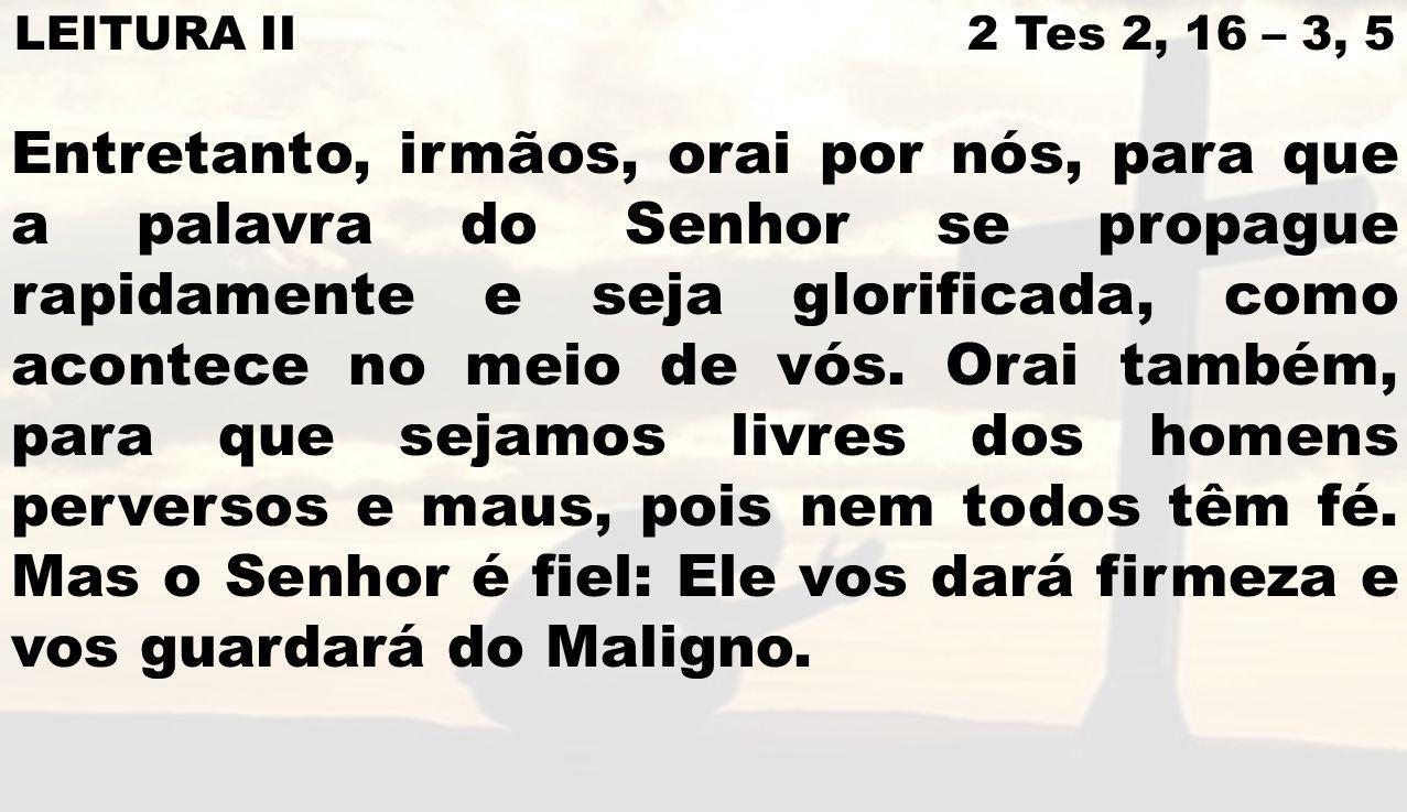 LEITURA II 2 Tes 2, 16 – 3, 5 Entretanto, irmãos, orai por nós, para que a palavra do Senhor se propague rapidamente e seja glorificada, como acontece