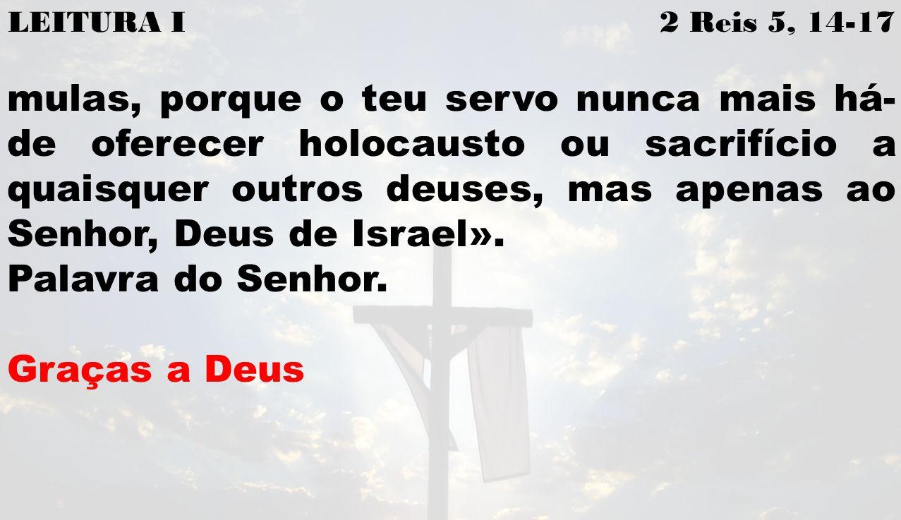 LEITURA I 2 Reis 5, 14-17 mulas, porque o teu servo nunca mais há- de oferecer holocausto ou sacrifício a quaisquer outros deuses, mas apenas ao Senhor, Deus de Israel».