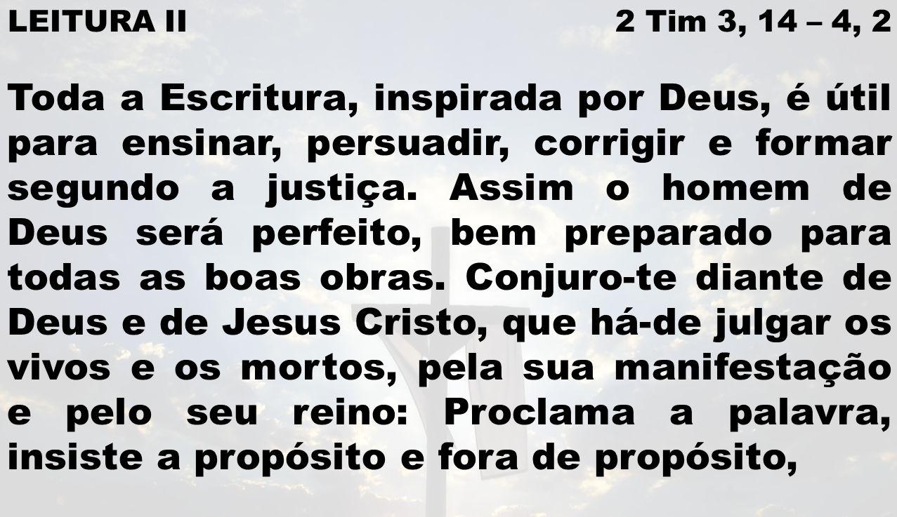 LEITURA II 2 Tim 3, 14 – 4, 2 Toda a Escritura, inspirada por Deus, é útil para ensinar, persuadir, corrigir e formar segundo a justiça.