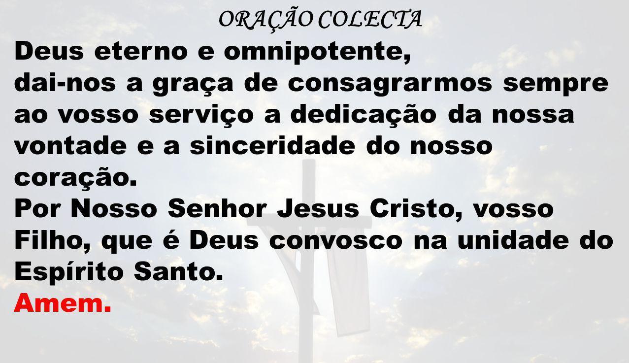 ORAÇÃO COLECTA Deus eterno e omnipotente, dai-nos a graça de consagrarmos sempre ao vosso serviço a dedicação da nossa vontade e a sinceridade do noss