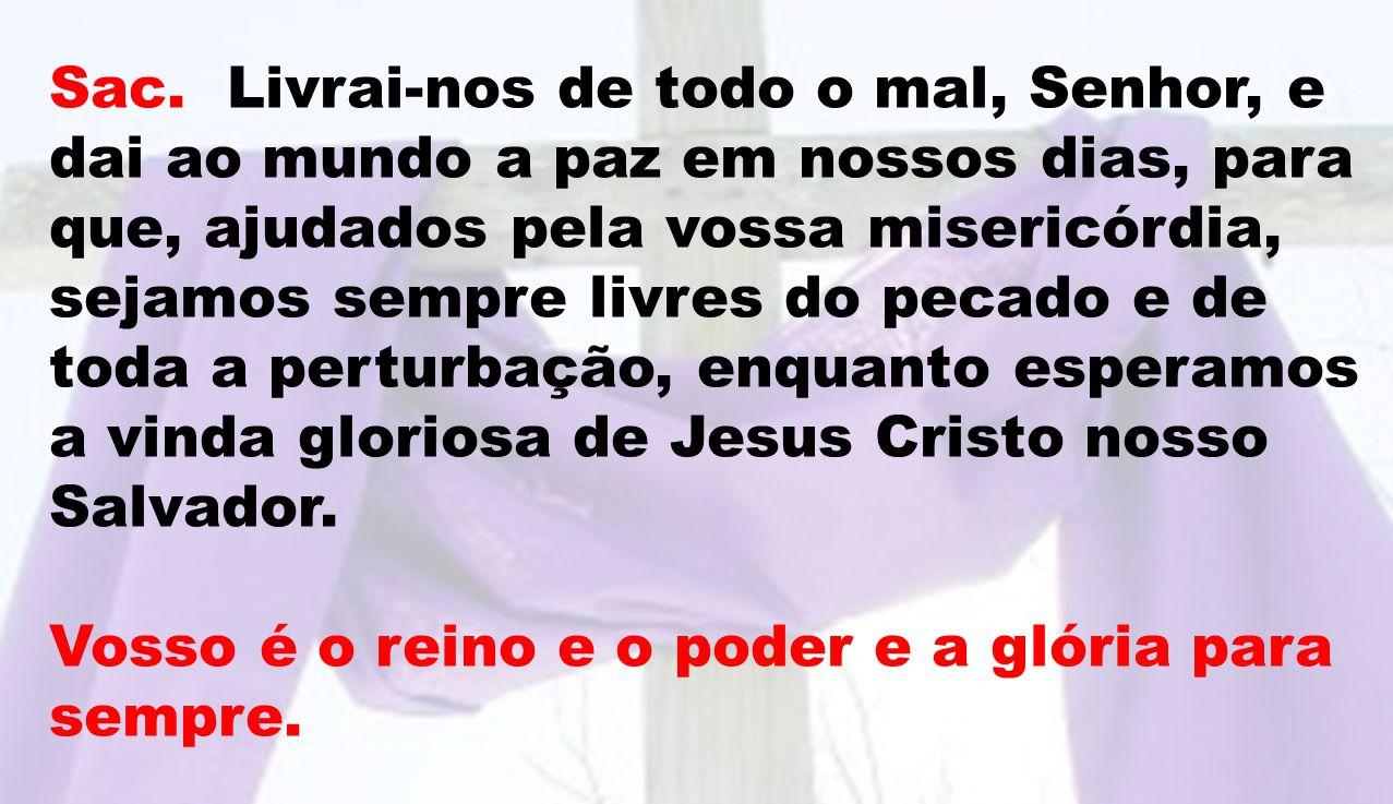 Sac. Livrai-nos de todo o mal, Senhor, e dai ao mundo a paz em nossos dias, para que, ajudados pela vossa misericórdia, sejamos sempre livres do pecad