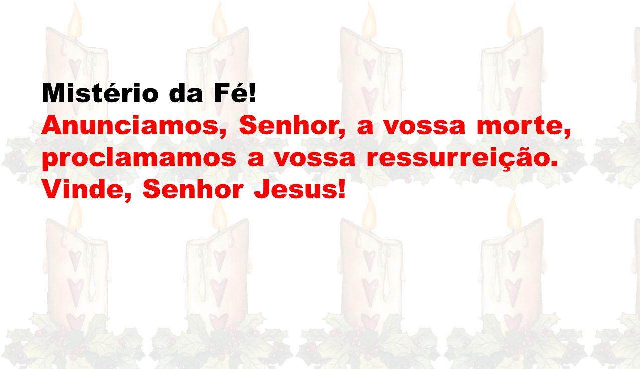 Mistério da Fé.Anunciamos, Senhor, a vossa morte, proclamamos a vossa ressurreição.
