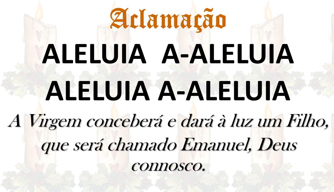 Aclamação ALELUIA A-ALELUIA A Virgem conceberá e dará à luz um Filho, que será chamado Emanuel, Deus connosco.