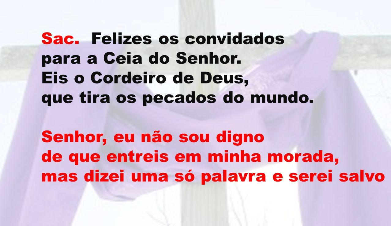 Sac. Felizes os convidados para a Ceia do Senhor. Eis o Cordeiro de Deus, que tira os pecados do mundo. Senhor, eu não sou digno de que entreis em min