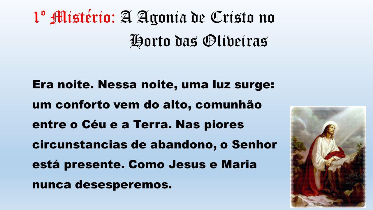 1º Mistério: A Agonia de Cristo no Horto das Oliveiras Era noite. Nessa noite, uma luz surge: um conforto vem do alto, comunhão entre o Céu e a Terra.