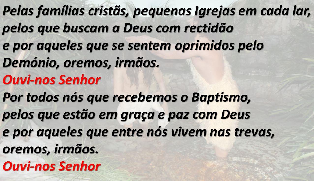 Pelas famílias cristãs, pequenas Igrejas em cada lar, pelos que buscam a Deus com rectidão e por aqueles que se sentem oprimidos pelo Demónio, oremos,