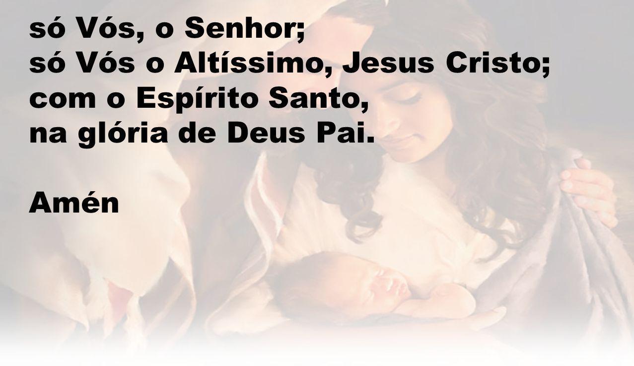 só Vós, o Senhor; só Vós o Altíssimo, Jesus Cristo; com o Espírito Santo, na glória de Deus Pai. Amén