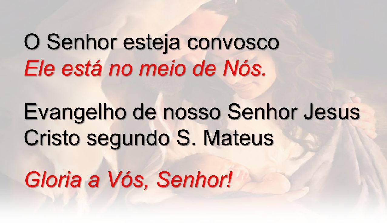 O Senhor esteja convosco Ele está no meio de Nós. Evangelho de nosso Senhor Jesus Cristo segundo S. Mateus Gloria a Vós, Senhor!