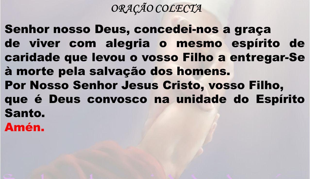 Sac: Vós, Senhor, sois verdadeiramente santo, sois a fonte de toda a santidade.