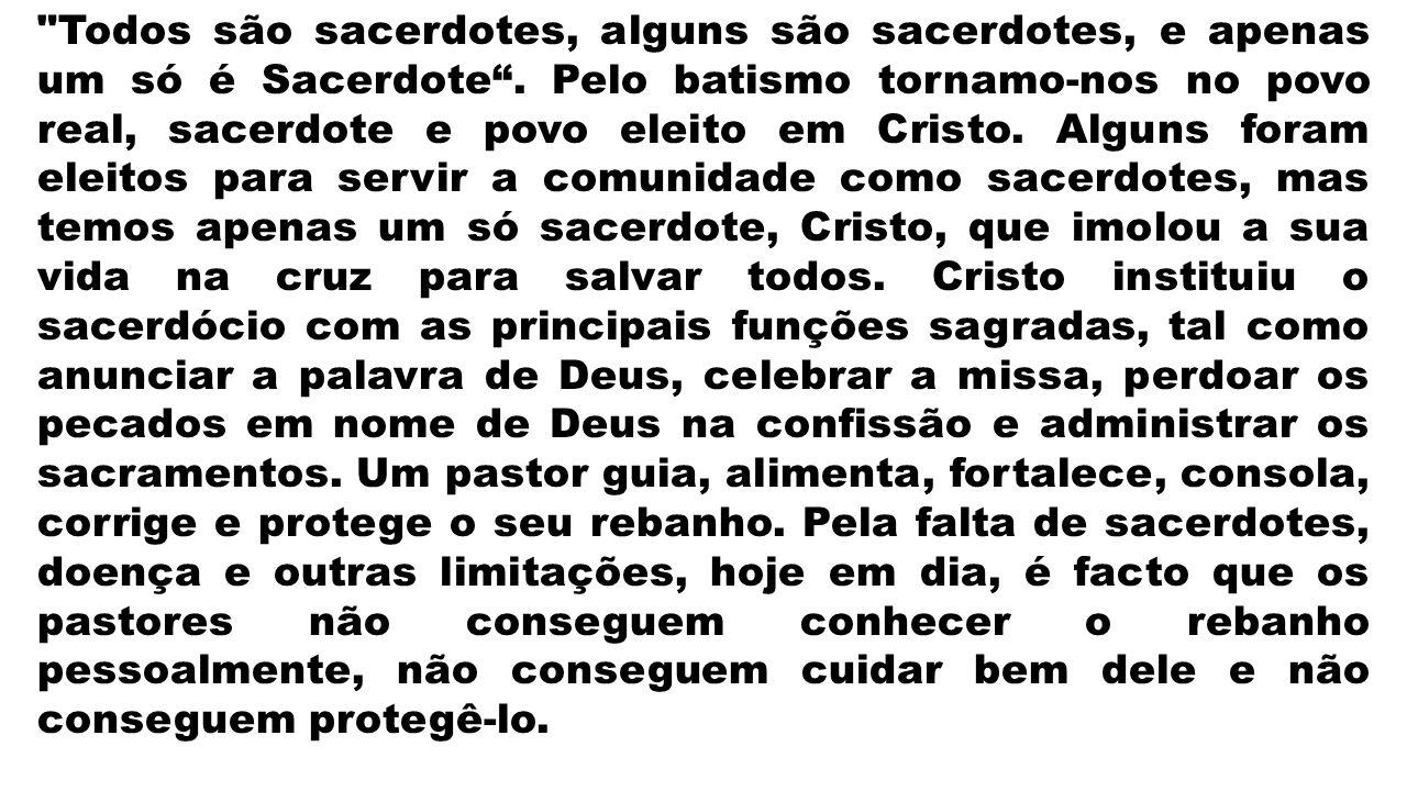 Todos são sacerdotes, alguns são sacerdotes, e apenas um só é Sacerdote.