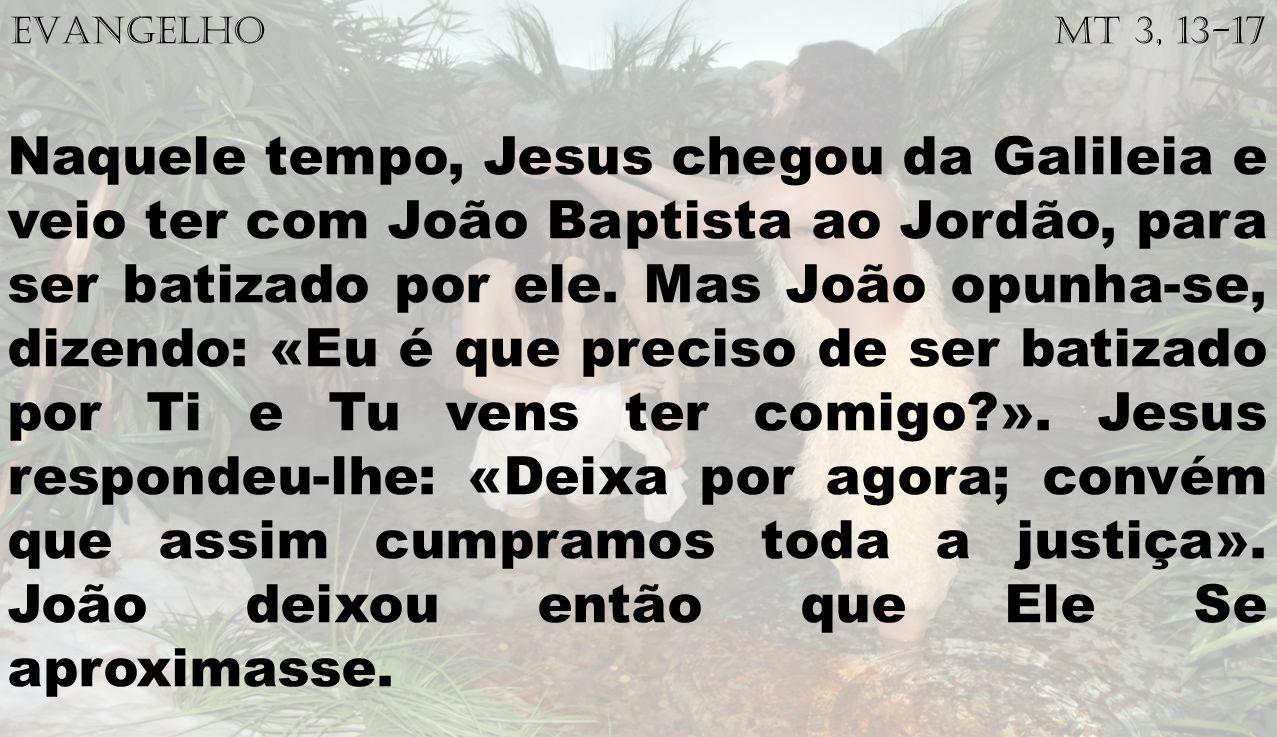 EVANGELHO Mt 3, 13-17 Naquele tempo, Jesus chegou da Galileia e veio ter com João Baptista ao Jordão, para ser batizado por ele. Mas João opunha-se, d