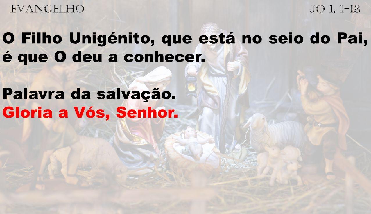 EVANGELHO Jo 1, 1-18 O Filho Unigénito, que está no seio do Pai, é que O deu a conhecer. Palavra da salvação. Gloria a Vós, Senhor.