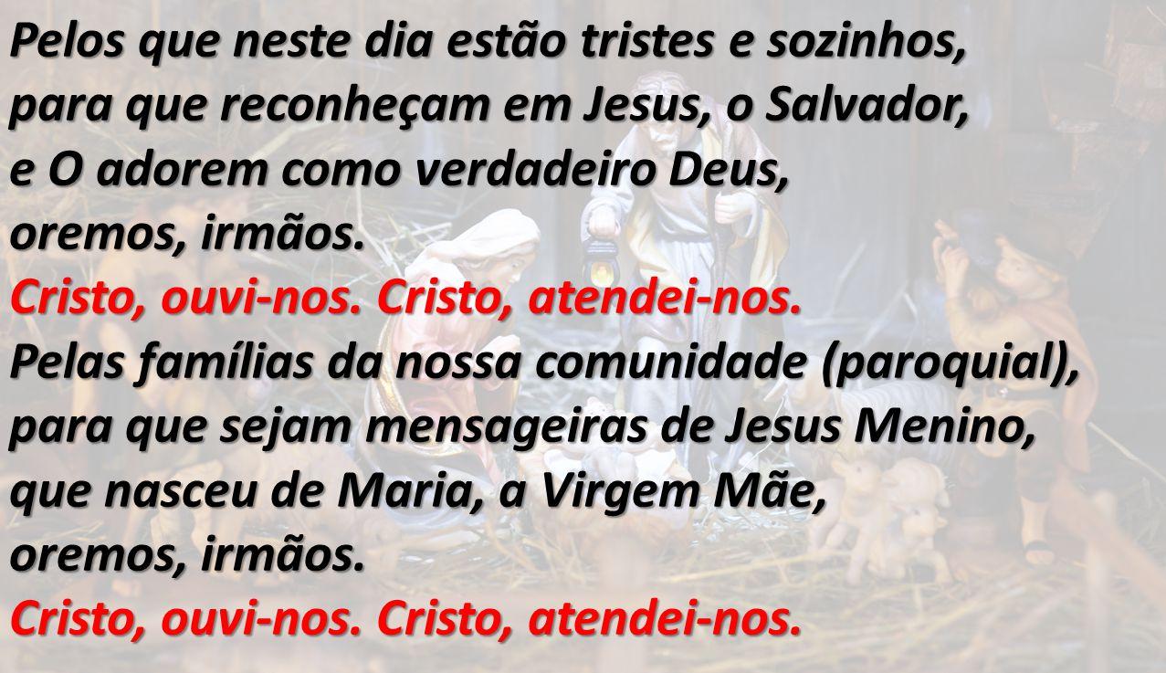 Pelos que neste dia estão tristes e sozinhos, para que reconheçam em Jesus, o Salvador, e O adorem como verdadeiro Deus, oremos, irmãos. Cristo, ouvi-