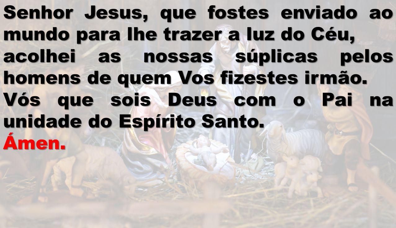 Senhor Jesus, que fostes enviado ao mundo para lhe trazer a luz do Céu, acolhei as nossas súplicas pelos homens de quem Vos fizestes irmão. Vós que so