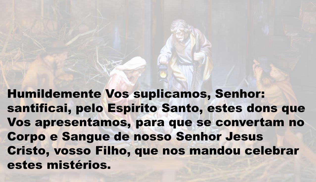 Humildemente Vos suplicamos, Senhor: santificai, pelo Espirito Santo, estes dons que Vos apresentamos, para que se convertam no Corpo e Sangue de noss
