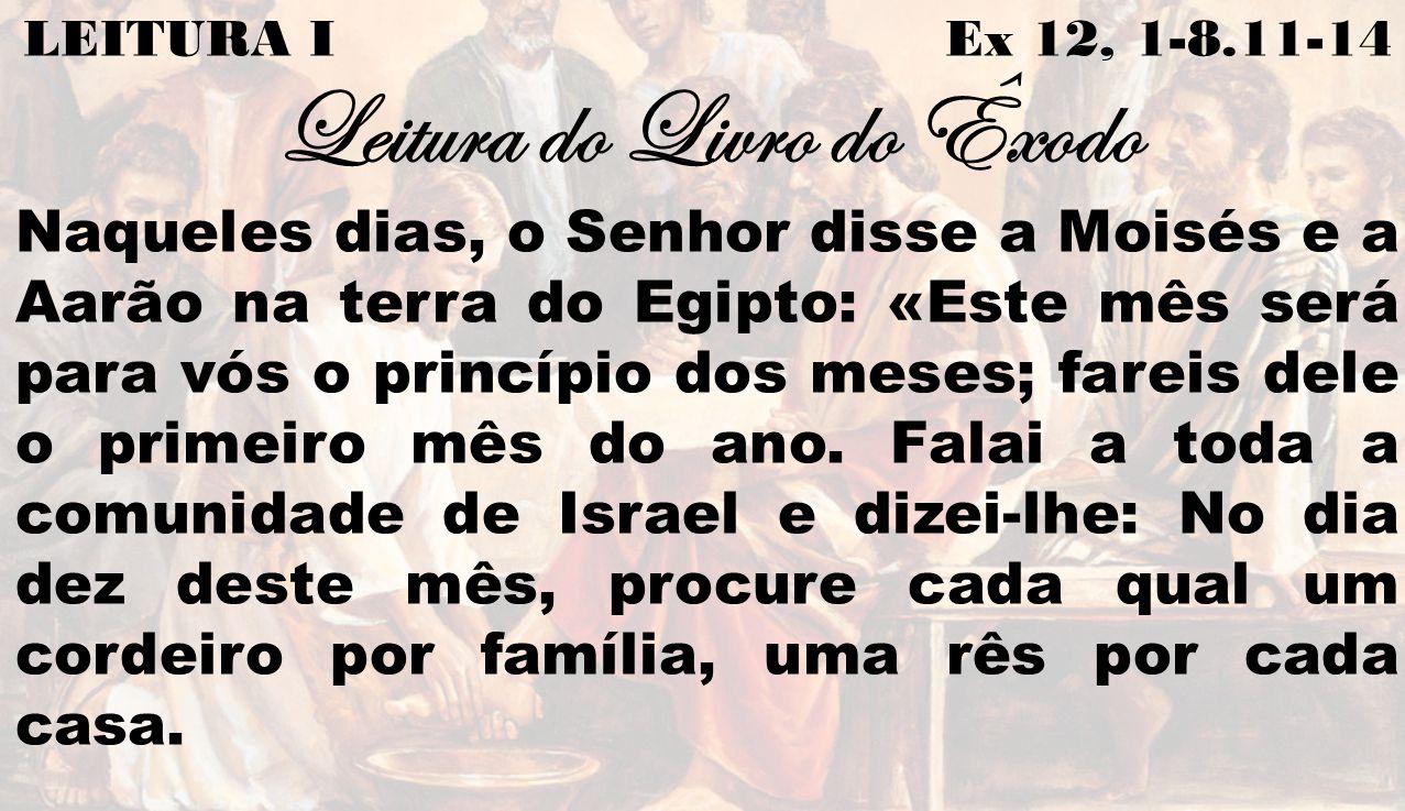 LEITURA I Ex 12, 1-8.11-14 Leitura do Livro do Êxodo Naqueles dias, o Senhor disse a Moisés e a Aarão na terra do Egipto: «Este mês será para vós o pr