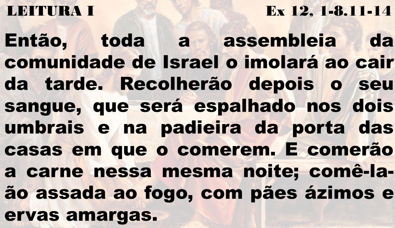 LEITURA I Ex 12, 1-8.11-14 Então, toda a assembleia da comunidade de Israel o imolará ao cair da tarde. Recolherão depois o seu sangue, que será espal